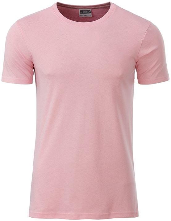 James & Nicholson Klasické pánske tričko z biobavlny 8008 - Jemně růžová | XXL
