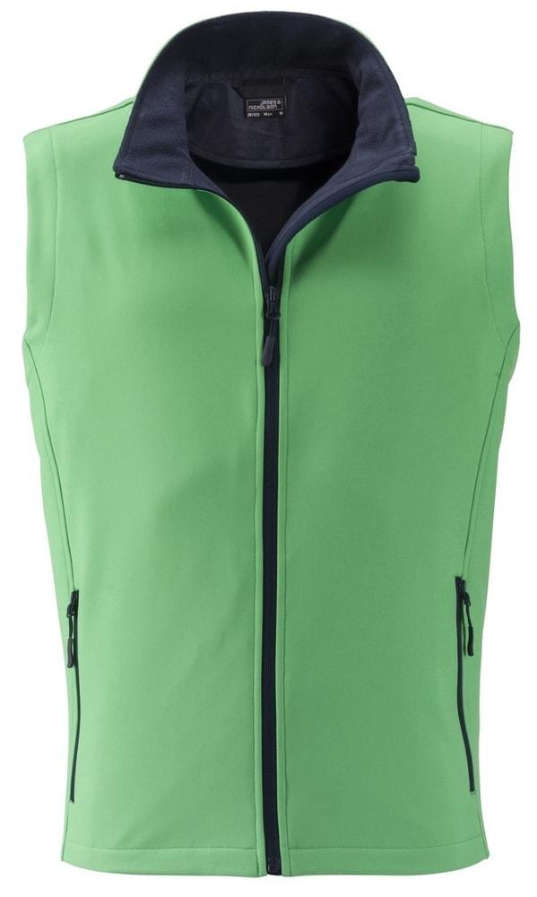 James & Nicholson Pánska softshellová vesta JN1128 - Zelená / tmavě modrá | XXL