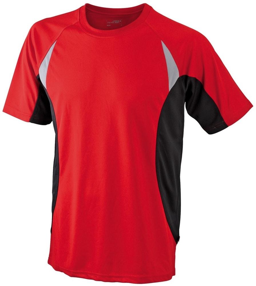 James & Nicholson Pánske funkčné tričko s krátkym rukávom JN391 - Červená / černá | XXXL