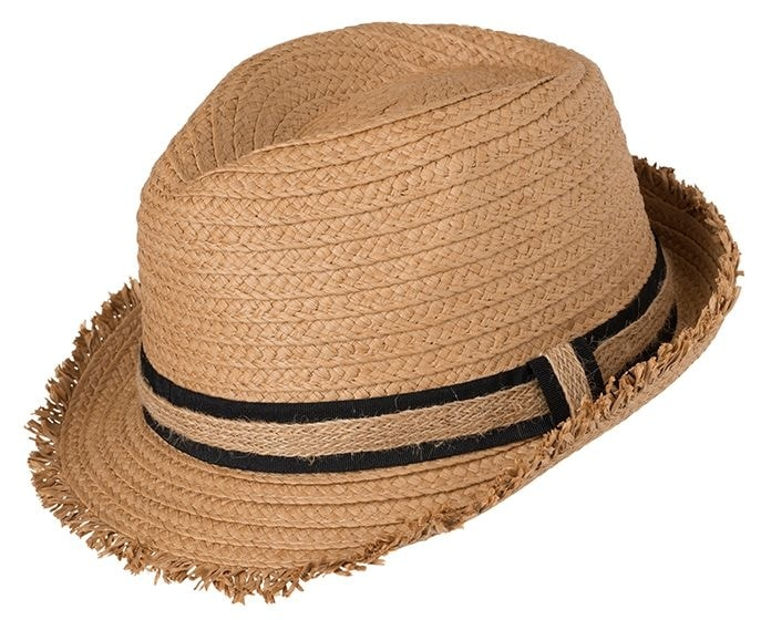 Myrtle Beach Letní slaměný klobouk MB6703 - Karamel / černá   L/XL