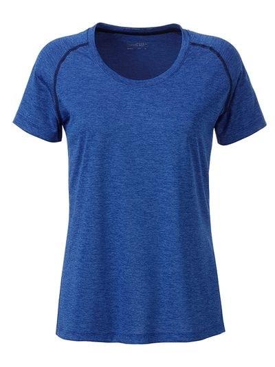 James & Nicholson Dámske funkčné tričko JN495 - Modrý melír / tmavě modrá | XL