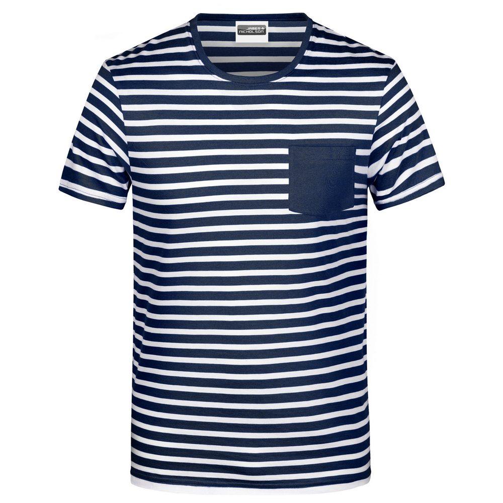 James & Nicholson Pánske pruhované tričko z biobavlny 8028 - Tmavě modrá / bílá | S