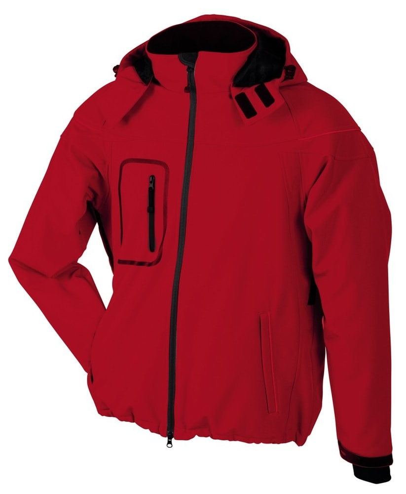James & Nicholson Zimná pánska softshellová bunda JN1000 - Červená | XL