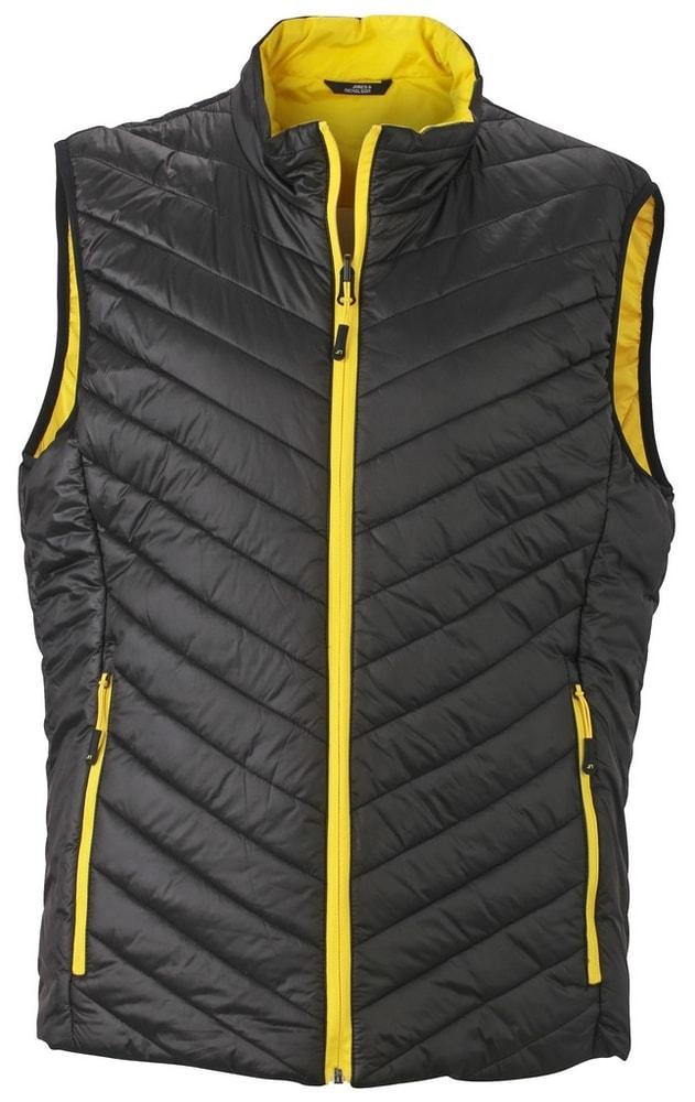 James & Nicholson Ľahká pánska obojstranná vesta JN1090 - Černá / žlutá | XL