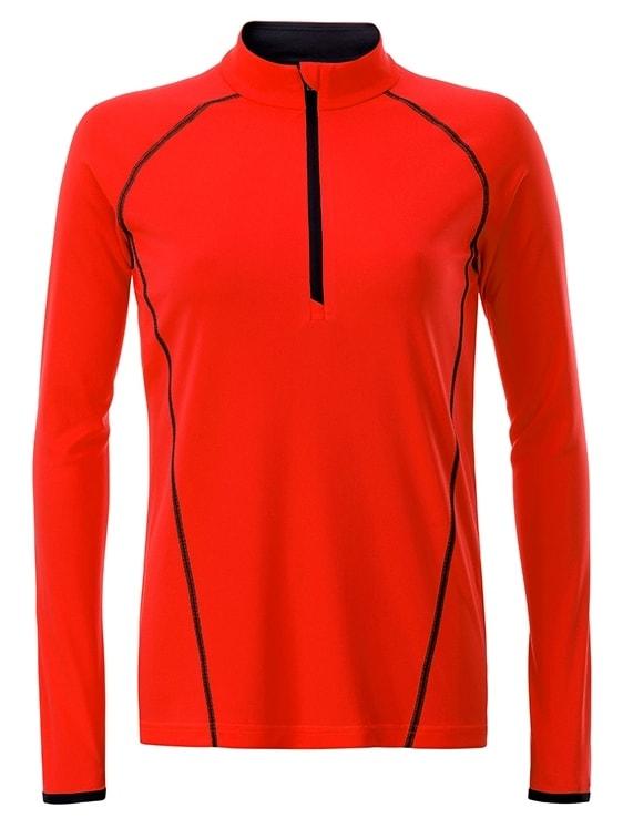 James & Nicholson Dámske funkčné tričko s dlhým rukávom JN497 - Jasně oranžová / černá | M