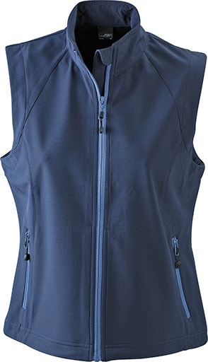 James & Nicholson Dámska softshellová vesta JN1023 - Tmavě modrá | L