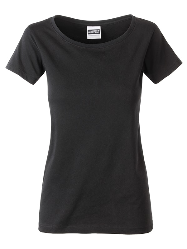 James & Nicholson Klasické dámske tričko z biobavlny 8007 - Černá | XL