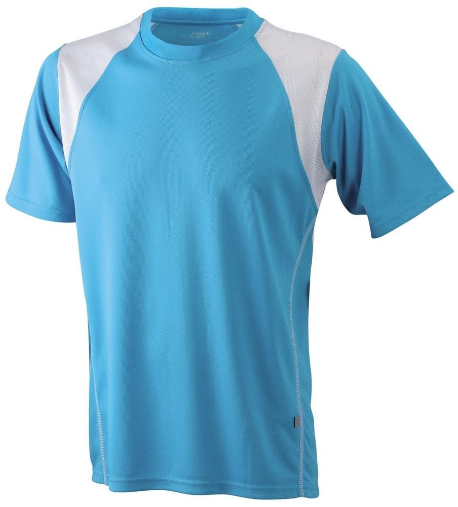 James & Nicholson Pánske bežecké tričko s krátkym rukávom JN397 - Tyrkysová / bílá   XXL