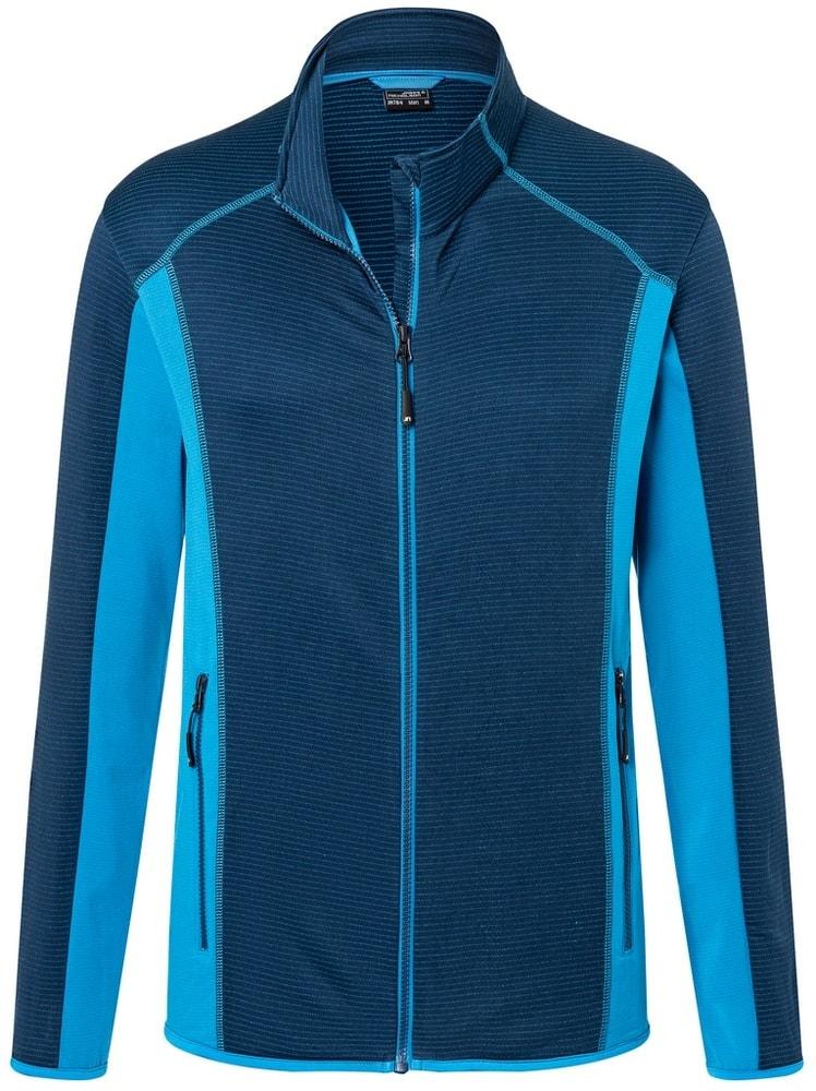 James & Nicholson Pánska strečová fleecová mikina JN784 - Tmavě modrá / jasně modrá   S