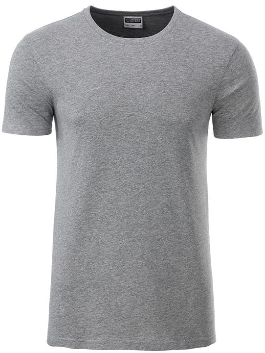 James & Nicholson Klasické pánske tričko z biobavlny 8008 - Šedý melír | XXL
