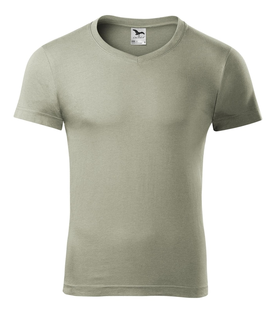 Adler Pánske tričko Slim Fit V-neck - Světlá khaki | XXL