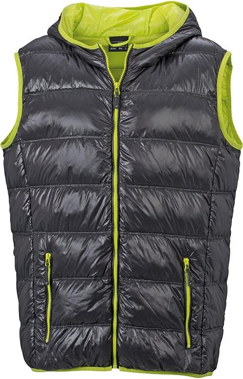 James & Nicholson Ľahká pánska páperová vesta JN1062 - Tmavě šedá / žlutozelená   XXL