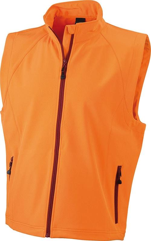 James & Nicholson Pánska softshellová vesta JN1022 - Oranžová | XXL
