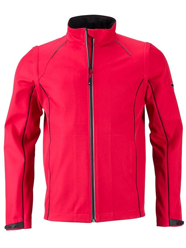 James & Nicholson Pánska softshellová bunda 2v1 JN1122 - Červená / černá   XXXL