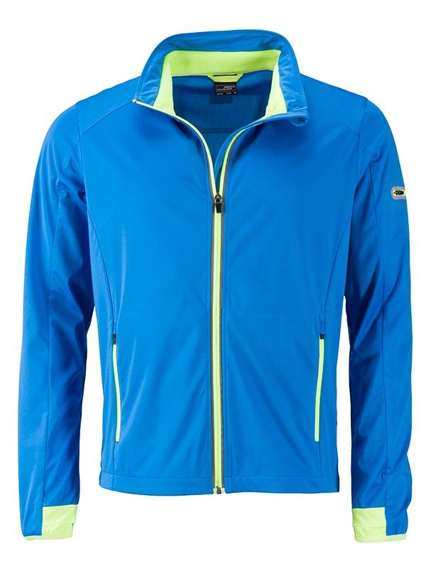 James & Nicholson Pánska športová softshellová bunda JN1126 - Jasně modrá / jasně žlutá   L