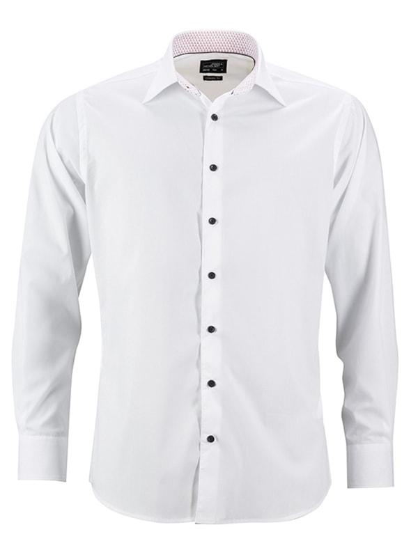 Pánská bílá košile JN648 - Bílá / bílá / červená | S