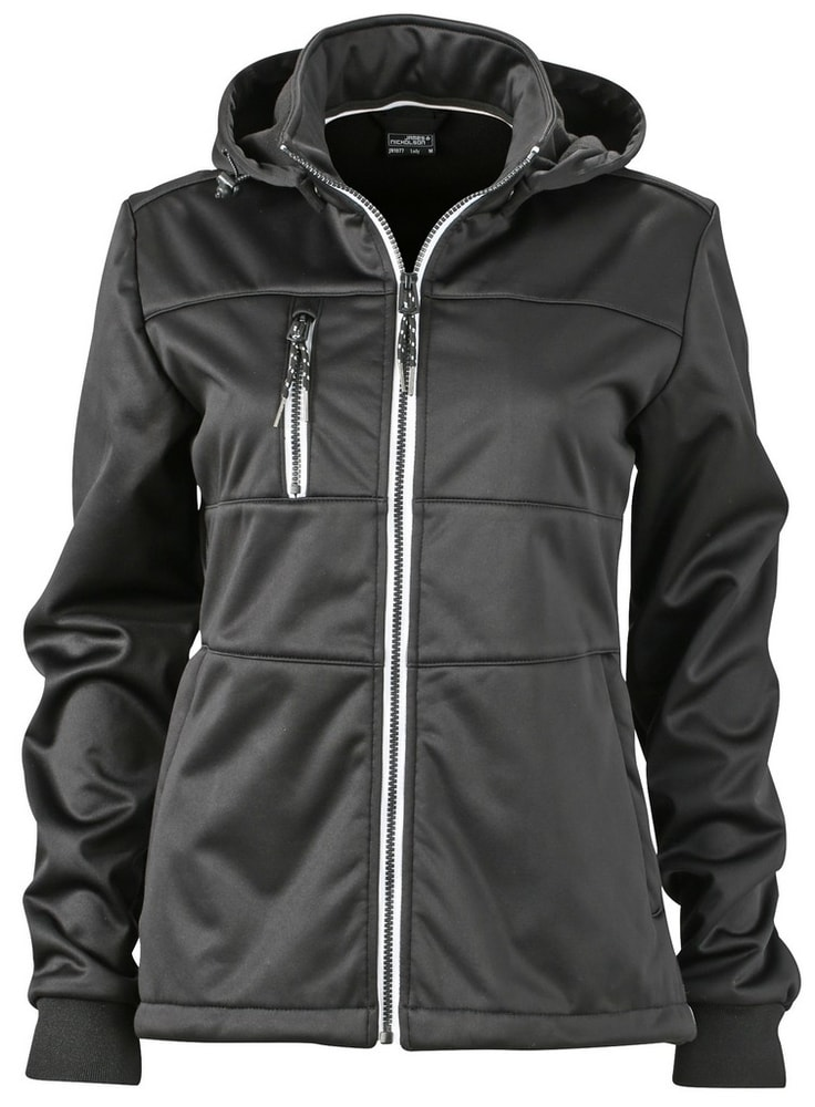 James & Nicholson Dámska športová softshellová bunda JN1077 - Černá / černá / bílá   M