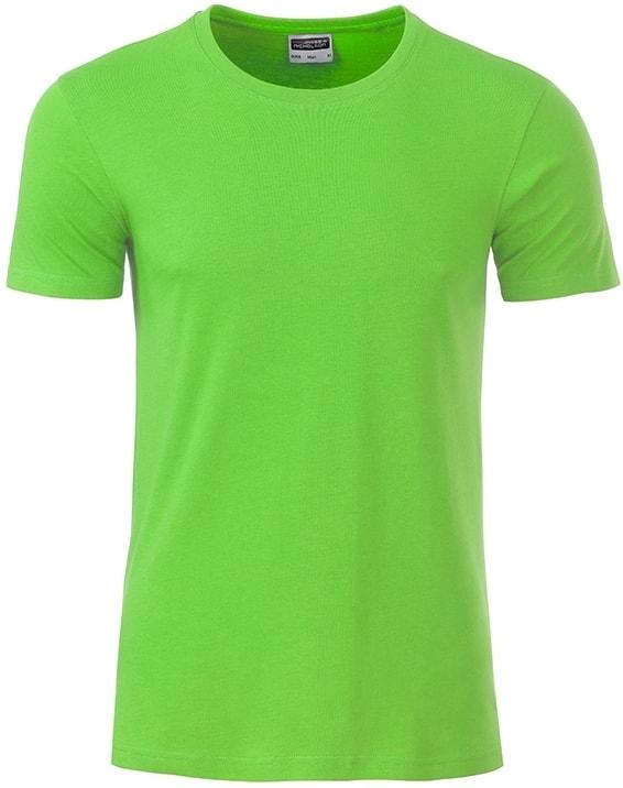 James & Nicholson Klasické pánske tričko z biobavlny 8008 - Limetkově zelená | XXL