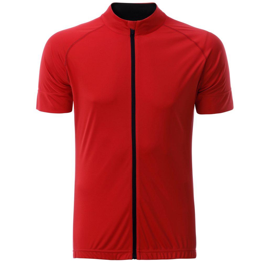 James & Nicholson Pánský cyklistický dres na zip JN516 - Tomato / černá   L