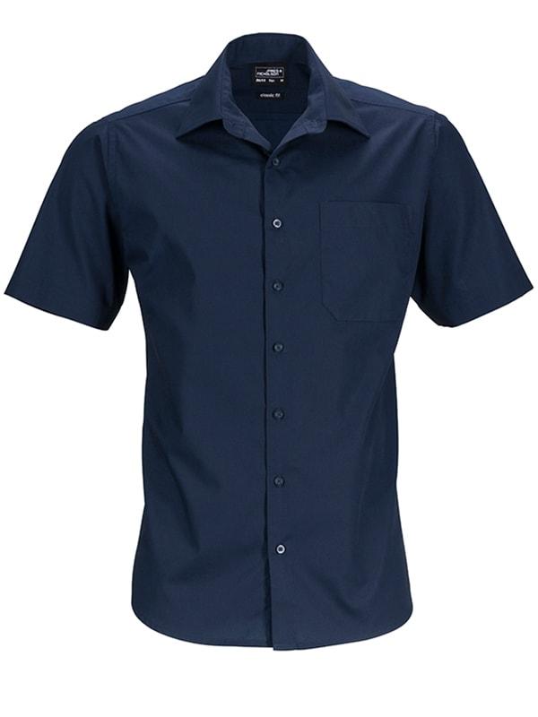 James & Nicholson Pánská košile s krátkým rukávem JN644 - Tmavě modrá | S