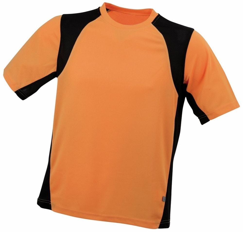 James & Nicholson Pánske športové tričko s krátkym rukávom JN306 - Oranžová / černá | XXXL
