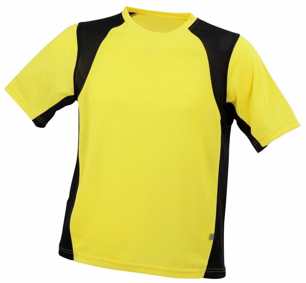James & Nicholson Pánske športové tričko s krátkym rukávom JN306 - Žlutá / černá | XXL