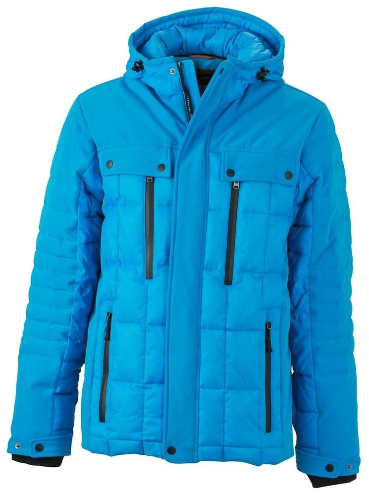 James & Nicholson Športová pánska zimná bunda JN1102 - Aqua / černá   XXXL