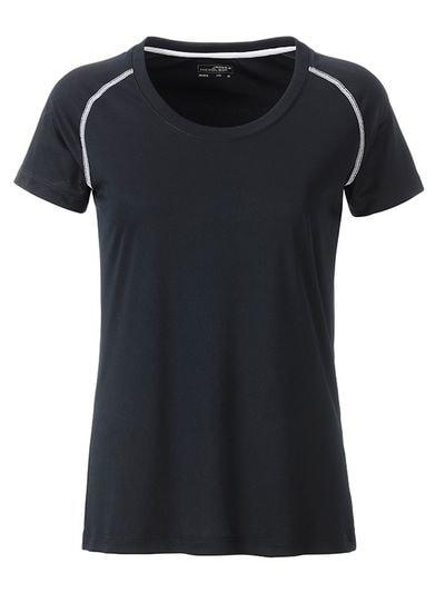 James & Nicholson Dámske funkčné tričko JN495 - Černá / bílá | M