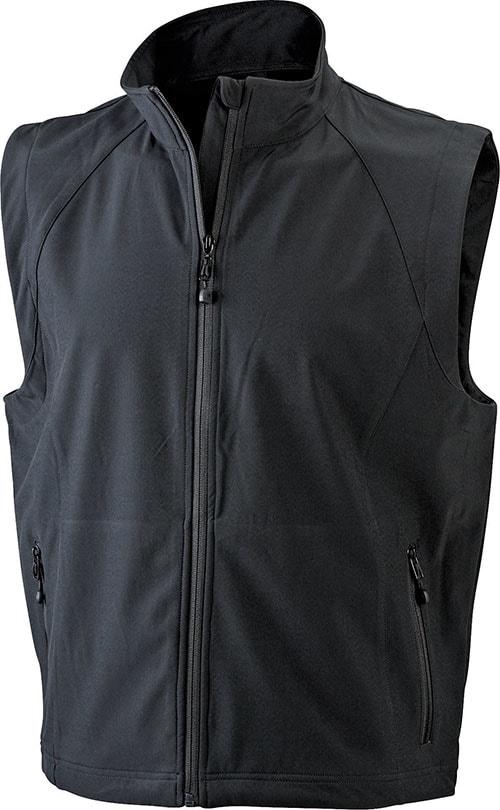 James & Nicholson Pánska softshellová vesta JN1022 - Černá | XXXL