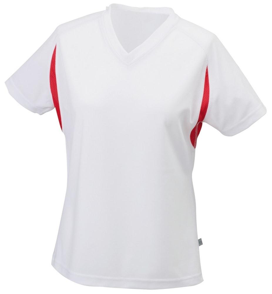 James & Nicholson Dámske športové tričko s krátkym rukávom JN316 - Bílá / červená | XXL