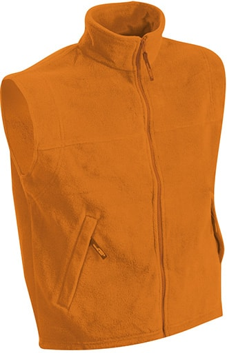 James & Nicholson Pánska fleecová vesta JN045 - Oranžová | XXXL