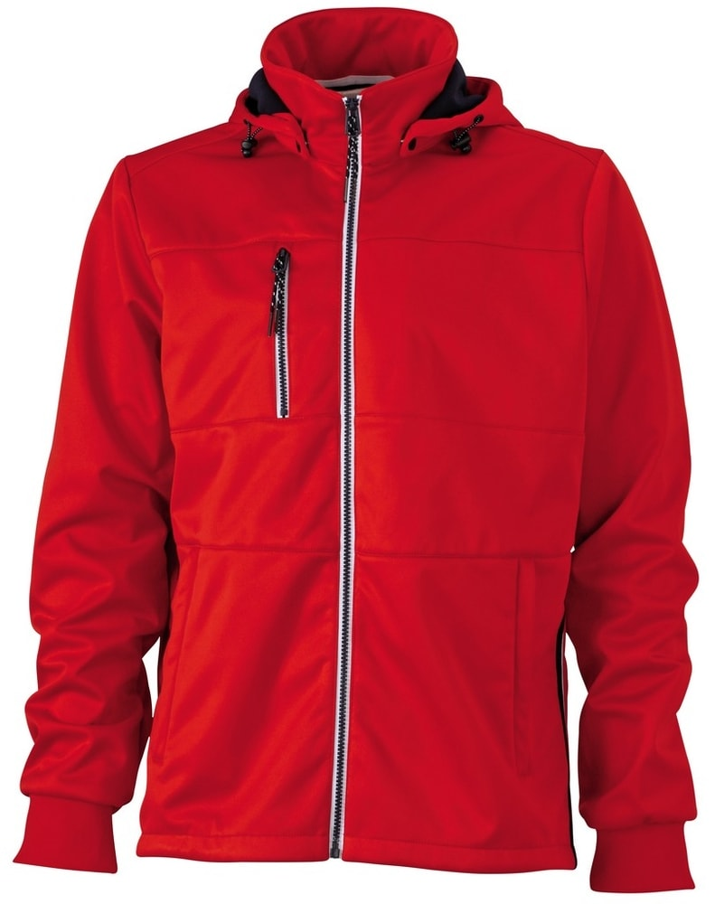 James & Nicholson Pánska športová softshellová bunda JN1078 - Červená / tmavě modrá / bílá   XXXL