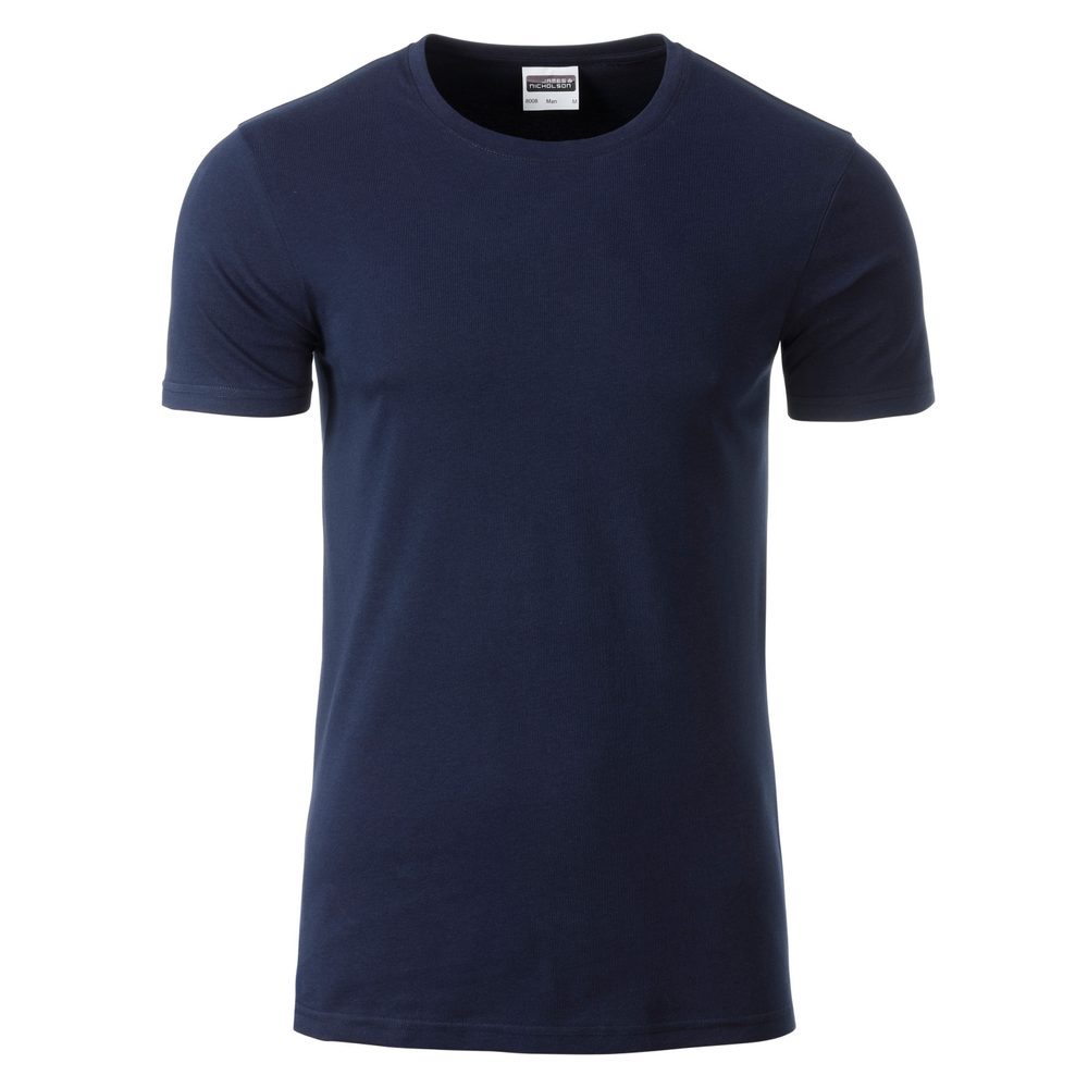 James & Nicholson Klasické pánske tričko z biobavlny 8008 - Tmavě modrá | S