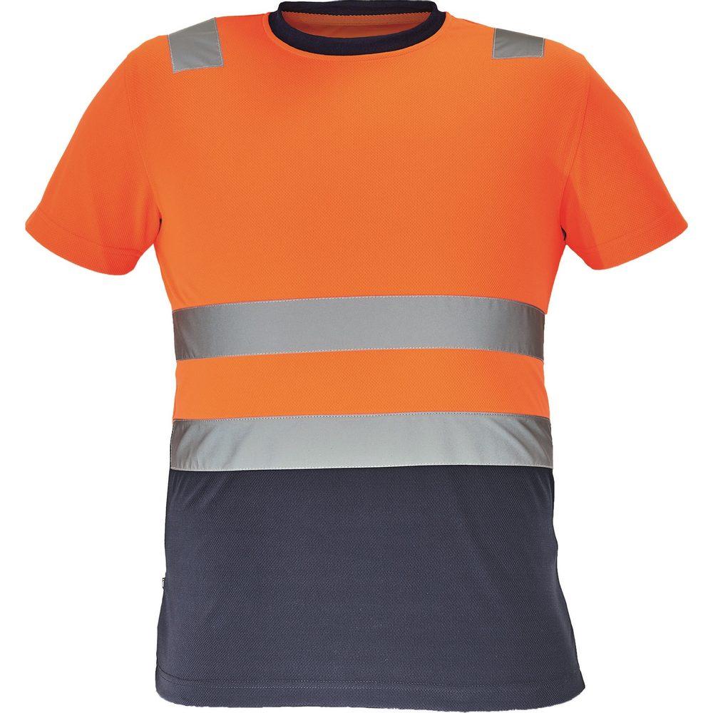 Cerva Pánske reflexné tričko MONZON - Oranžová / tmavě modrá | XXXL