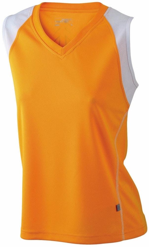 James & Nicholson Dámske bežecké tričko bez rukávov JN394 - Oranžová / bílá | XXL