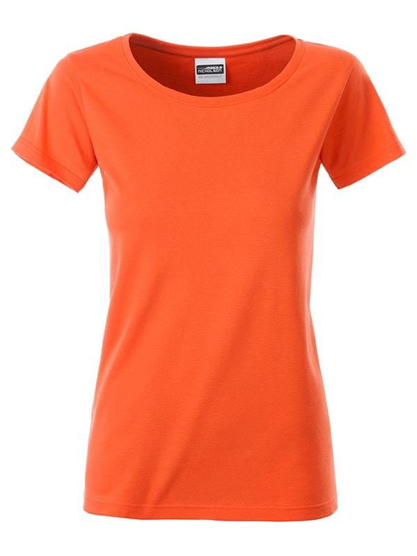 James & Nicholson Klasické dámske tričko z biobavlny 8007 - Tmavě oranžová | M