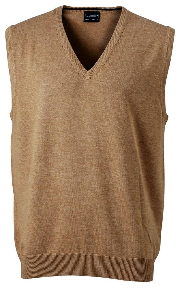 James & Nicholson Pánský svetr bez rukávů JN657 - Camel   S