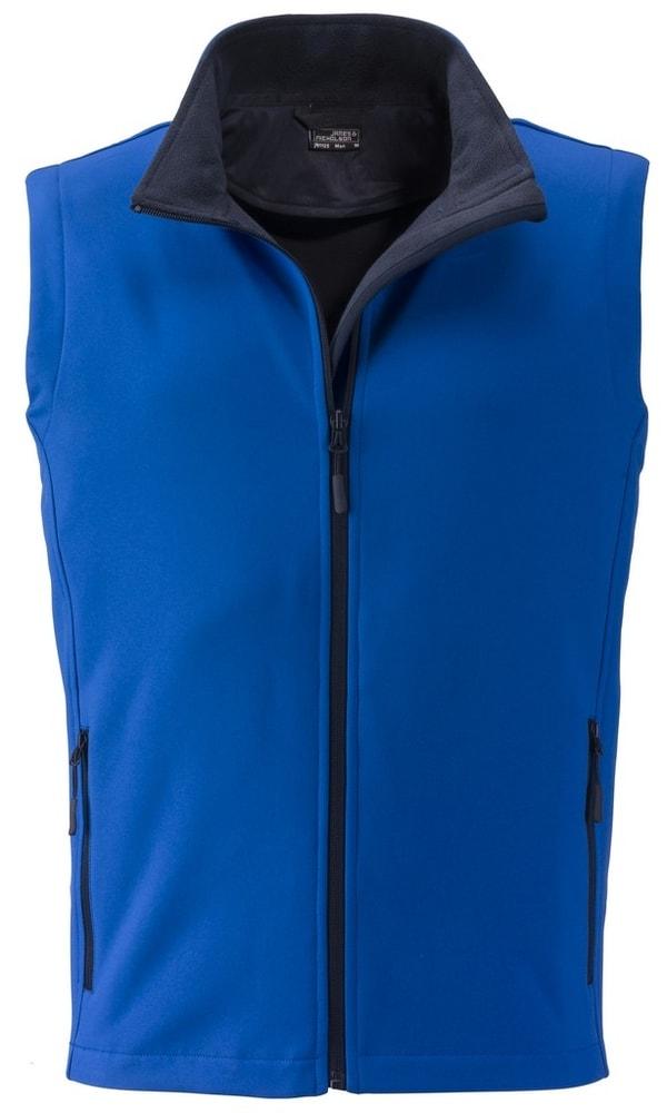 James & Nicholson Pánska softshellová vesta JN1128 - Světle modrá / tmavě modrá | M