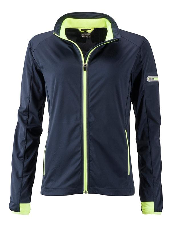 James & Nicholson Dámska športová softshellová bunda JN1125 - Tmavě modrá / jasně žlutá   L