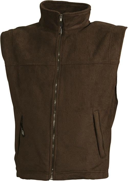 James & Nicholson Pánska fleecová vesta JN045 - Hnědá | L