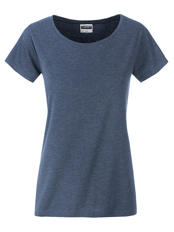 James & Nicholson Klasické dámske tričko z biobavlny 8007 - Světle džínový melír | S