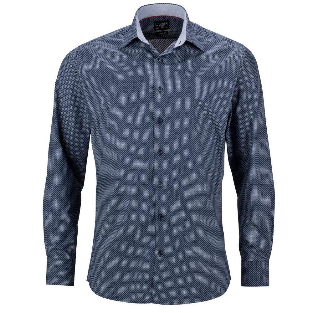 James & Nicholson Pánská luxusní košile Diamonds JN670 - Tmavě modrá / bílá | XL