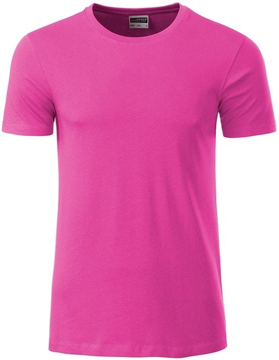James & Nicholson Klasické pánske tričko z biobavlny 8008 - Růžová | XXL
