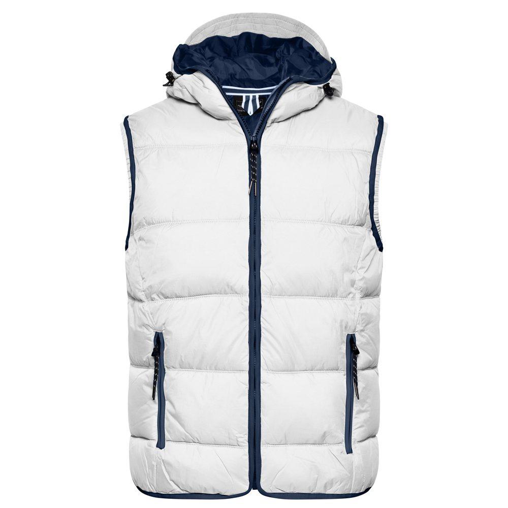 James & Nicholson Pánska vesta s kapucňou JN1076 - Bílá / tmavě modrá   M