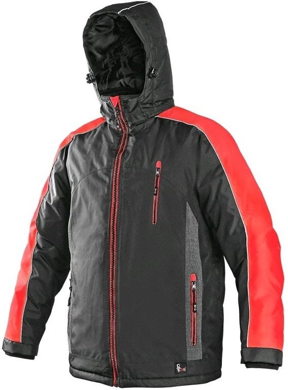 Canis Pánska zimná bunda BRIGHTON - Šedá / červená | XXXL