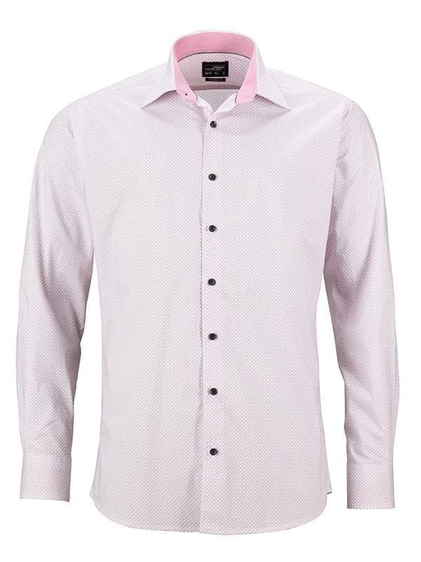 James & Nicholson Pánská luxusní košile Diamonds JN670 - Bílá / červená   XXXL