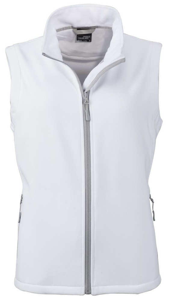 James & Nicholson Dámska softshellová vesta JN1127 - Bílá / bílá | M