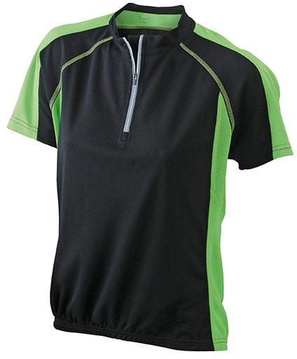 James & Nicholson Dámske cyklistické tričko JN419 - Černá / limetková | M
