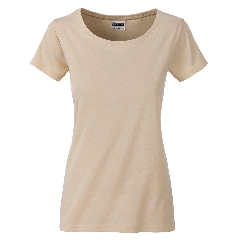 James & Nicholson Klasické dámske tričko z biobavlny 8007 - Stone | M