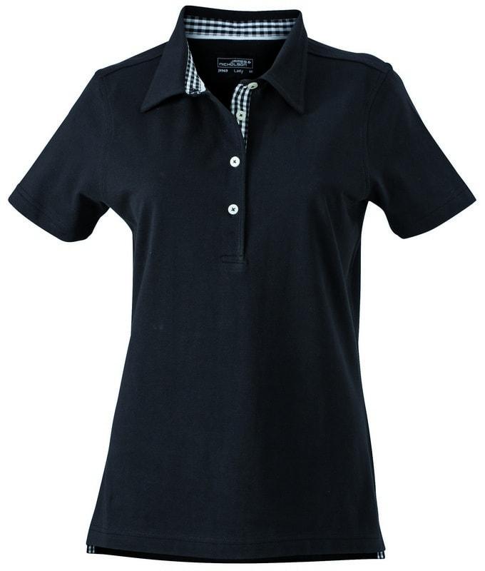 James & Nicholson Elegantní dámská polokošile JN969 - Černá / černá / bílá | M